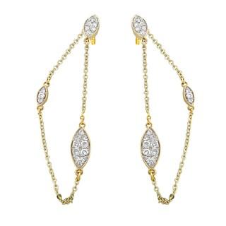 14k Yellow Gold 1/2 ct TDW Diamond Front-Back Chain Earrings - White H-I