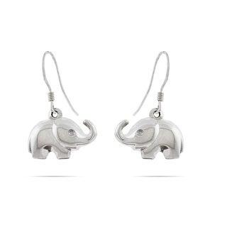 Handmade Adorable Elephant .925 Sterling Silver Dangling Earrings