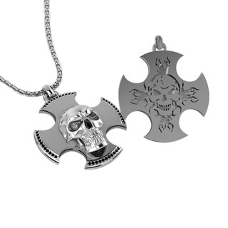 Sterling Silver Engraved Skull Cross Necklace Father's Day, Anniversary and Birthday