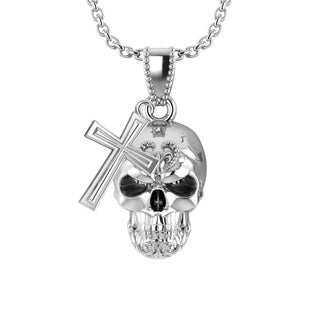 3-dimensional Sterling Silver Skull and Cross Necklace