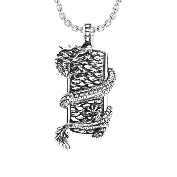 Sterling Silver Necklace with Dragon Wrapped on Shield
