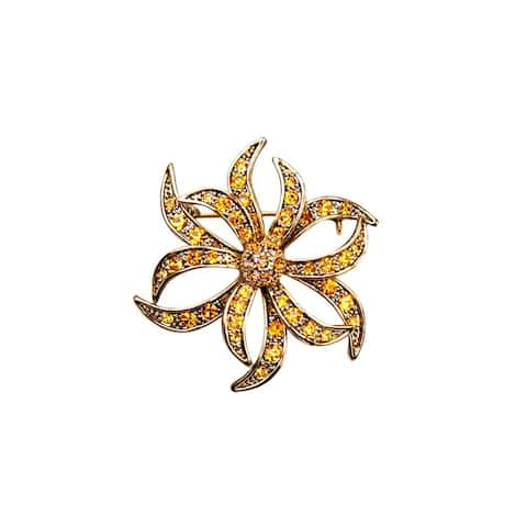 Luxiro Antique Gold Finish Orange Crystal Flower Brooch