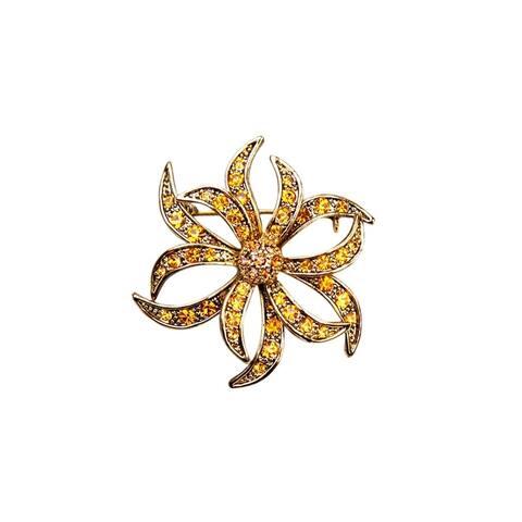Luxiro Antique Gold Finish Orange Crystal Flower Brooch