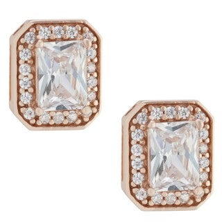 Rose Gold over Sterling Silver Cubic Zirconia Stud Earrings