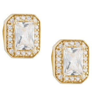 Gold over Sterling Silver Cubic Zirconia Stud Earrings