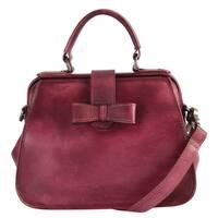 Diophy Fashion Red Genuine Leather Vintage Clasp Closure Satchel Handbag
