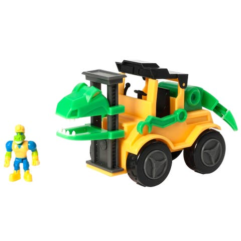 Educational Insights Dino Construction Company Snap the Velociraptor Forklift Set