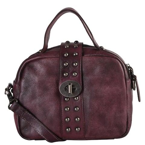 Diophy Womens Genuine Leather Turn-Lock Closure Satchel Handbag