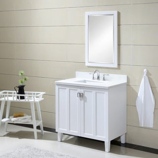 Phoenix White Artificial Marble Top 36 inch Single Sink Bathroom Vanity in White Finish
