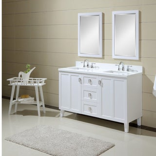 Infurniture Contemporary-style White-finished 60-inch Phoenix White Top Double Sink Bathroom Vanity