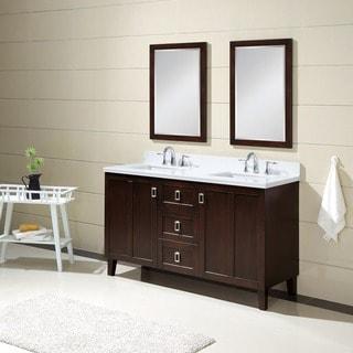 Infurniture Dark Brown Finish Phoenix White Quartz Top Double Sink 60-inch Bathroom Vanity