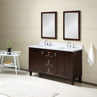 Infurniture Dark Brown Finish Phoenix White Quartz Top Double Sink 60-inch Bathroom Vanity