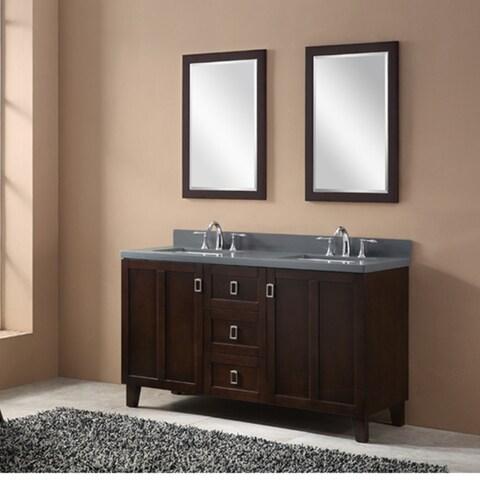 Contemporary Brown Grey Quartz 60-inch Double Sink Bathroom Vanity