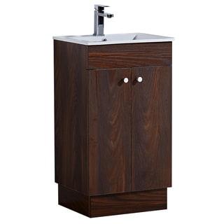 Infurniture 19.5-inch Bathroom Vanity with Ceramic Sink in Brown Elm Wood Texture Finish