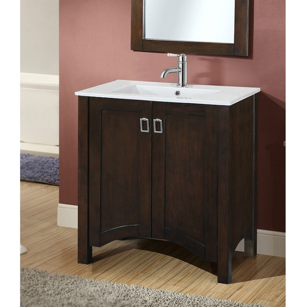 Shop infurniture contemporary style brown wood 30 inch - 30 inch single sink bathroom vanity ...