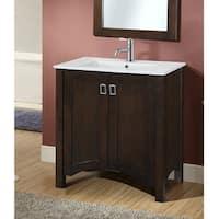 Infurniture Contemporary-style Brown Wood 30-inch Single Sink Bathroom Vanity