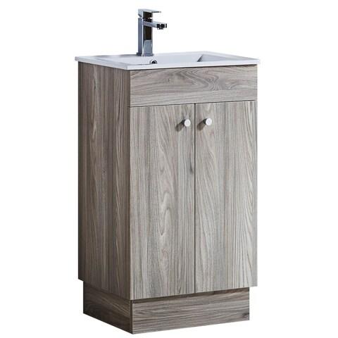 Infurniture Grey Walnut Wood Texture 19.5-inch Bathroom Vanity with Ceramic Sink-top