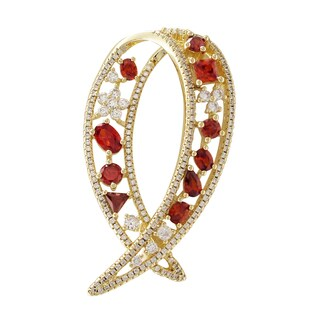 Luxiro Gold Finish Sterling Silver Red Cubic Zirconia Geometric Pin Brooch