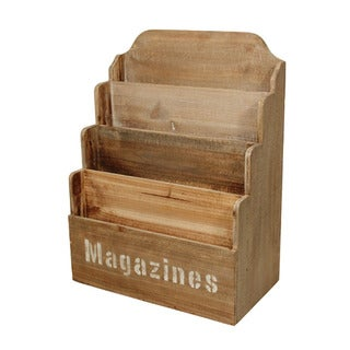 Cheung's Brown Wood 4-tier Magazine Holder