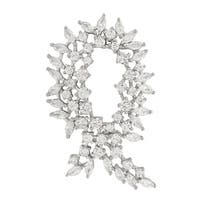 Luxiro Sterling Silver Cubic Zirconia Ribbon Pin Brooch