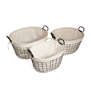 Cheung's Lined Metal Wire Oval Basket with Handle - Set of 3