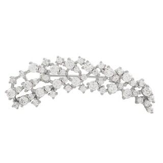 Luxiro Sterling Silver Cubic Zirconia Spray Pin Brooch