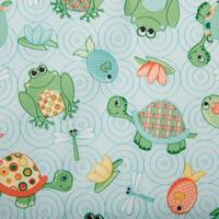 "Babyville PUL Waterproof Diaper Fabric 64"" Wide 6yd D/R-Playful Pond Turtles & Frogs"