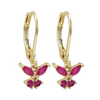 Luxiro Gold Finish Lab-created Ruby Butterfly Children's Dangle Earrings - Pink