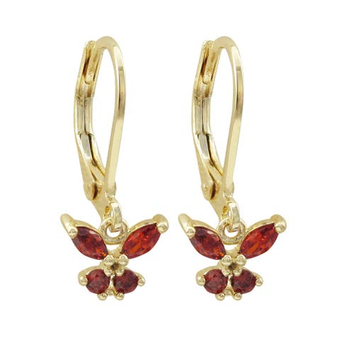 Luxiro Gold Finish Cubic Zirconia Butterfly Children's Dangle Earrings - Red
