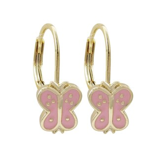 Luxiro Gold Finish Enamel Butterfly Children's Dangle Earrings