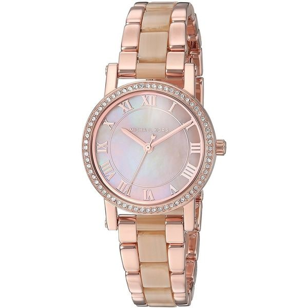 ebafa1689032 Shop Michael Kors Women s  Petite Norie  Crystal Two-Tone Stainless steel  and Acetate Watch - Free Shipping Today - Overstock - 16099318