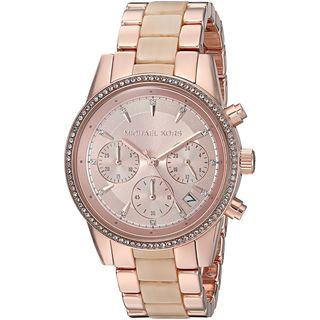 Michael Kors Women's MK6493 'Ritz' Chronograph Crystal Two-Tone Stainless steel and Acetate Watch