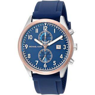 Michael Kors Men's MK8573 'Saunder' Chronograph Navy Silicone Watch