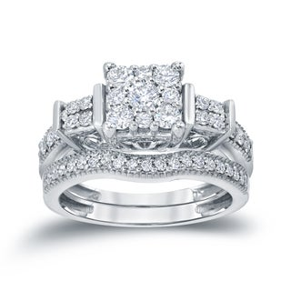 Auriya 14k 3/4ct TDW Cluster Diamond Bridal Ring Set (H-I, I1-I2)