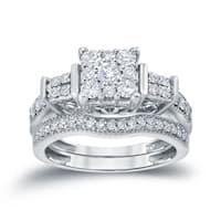 Auriya 14k 3/4ct TDW Unique Square Shaped 3-Stone Diamond Halo Engagement Ring Set