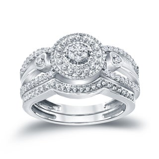 Auriya 14k 1/4ct TDW Cluster Diamond Bridal Ring Set (H-I, I1-I2)
