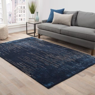 Sonar Handmade Stripe Blue/ Taupe Area Rug (5' X 8') - 5' x 8'