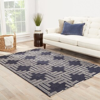 """Fes Indoor/ Outdoor Geometric Dark Blue/ Tan Area Rug (5' X 7'6"""")"""