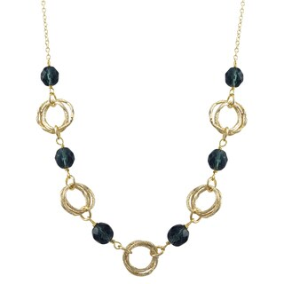 Luxiro Gold Finish Glass Beads Linked Circles Necklace
