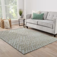 Amalfi Handmade Abstract Blue/ Taupe Area Rug (5' X 8') - 5' x 8'