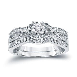 Auriya 14k 1/2ct TDW Diamond Braided Bridal Ring Set (H-I, I1-I2)