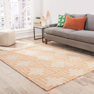 """Fes Indoor/ Outdoor Geometric Tan/ Orange Area Rug (5' X 7'6"""")"""