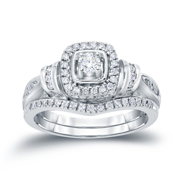 Auriya 14k 1/2ct TDW Halo Diamond Bridal Ring Set (H-I, I1-I2)