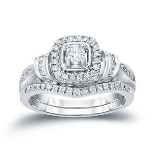 Auriya 14k 1/2ct TDW Halo Diamond Bridal Ring Set (H-I, I1-I2)