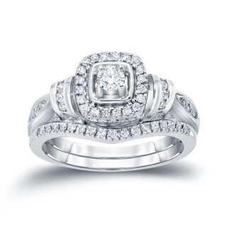 Auriya 14k 1/2ct TDW Modern Round Diamond Halo Engagement Ring Set