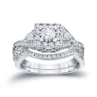 Auriya 14k 3/4ct TDW Braided Infinity Inspired Round Diamond Halo Engagement Ring Set