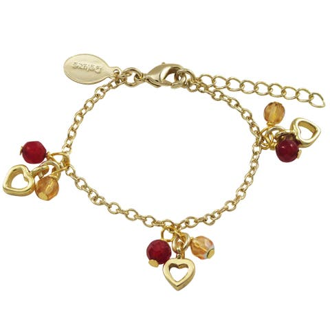 Luxiro Gold Finish Red Coral and Peach Glass Beads Heart Charm Bracelet