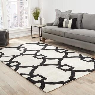 Bronx Handmade Trellis White/ Black Area Rug (5' X 8')