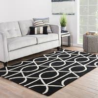 Savoy Handmade Trellis Black/ White Area Rug (5' X 8') - 5' x 8'