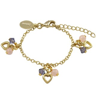 Luxiro Gold Finish Rose Quartz and Crystal Beads Heart Charm Bracelet - Pink